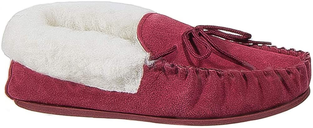 Womens Ladies Moccasin Slippers Red