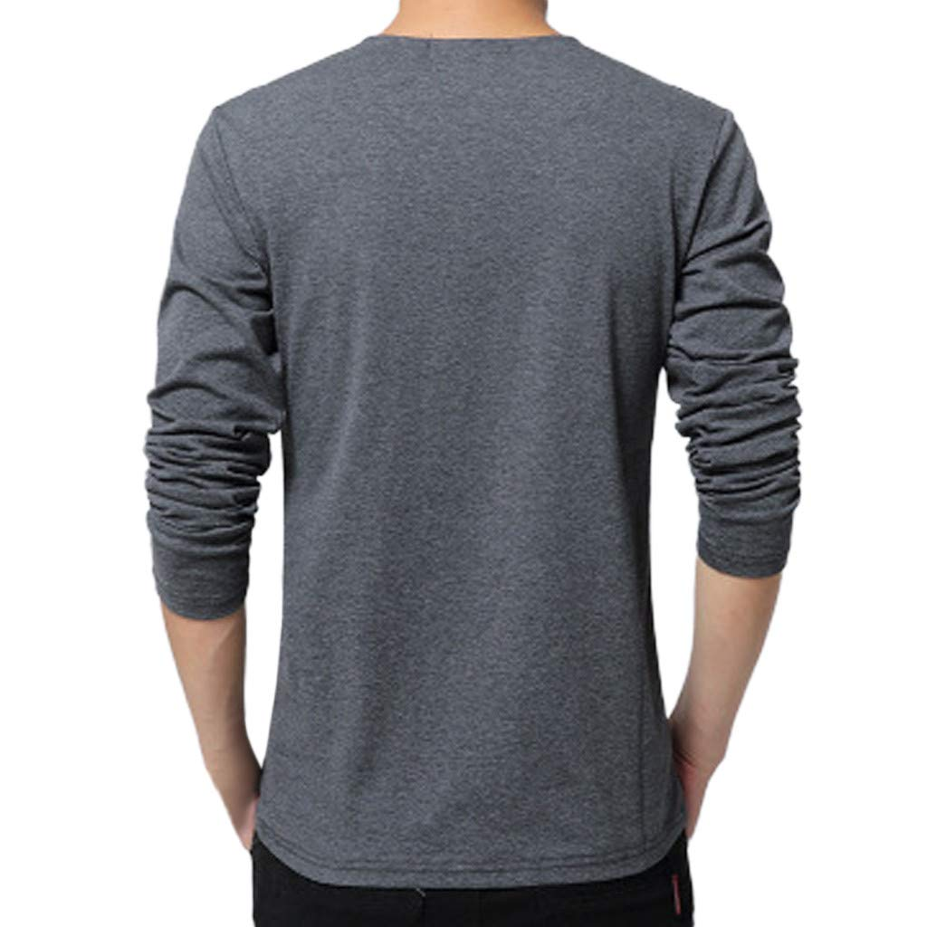 GREFER Men's Tall and Big T Shirt Fashion Printing V Neck Button Tops Long Sleeved Blouse Dark Gray by GREFER