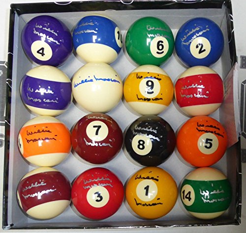Willie Mosconi Signed Billiards Pool Ball Set COA Autograph The Hustler - PSA/DNA Certified - Autographed Products