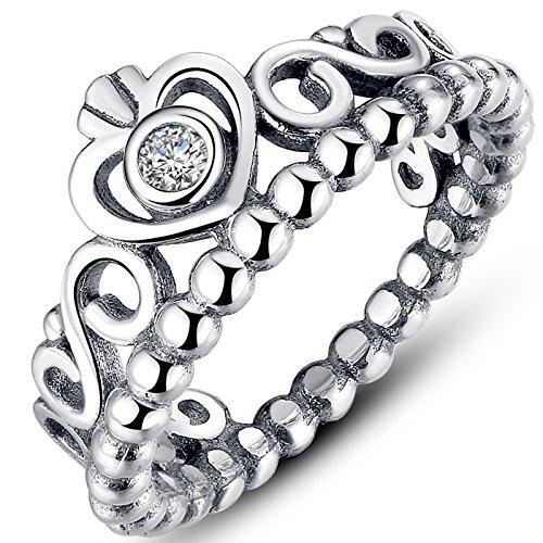 Presentski 925 Sterling Silver Heart Shaped Princess Crown Ring for Women...