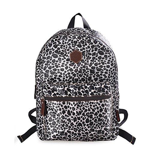 Douguyan Leopard Backpack Lightweight Cheetah Book Bag Daypack Black Leopard 133C