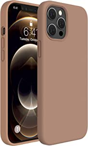 Miracase Compatible with iPhone 12 Pro Max Case 6.7 inch(2020 Release),Liquid Silicone Case Gel Rubber Full Body Protection Shockproof Drop Protection Case(Chocolate)