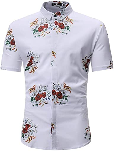 2018 Tops De Moda De para Camisas Hombre Simple Estilo Ocio De Verano para Hombres Hombres De Hombre Floral Blusa Estampada Casual De Manga Corta Camisa De Corte Slim Tops: Amazon.es: Ropa