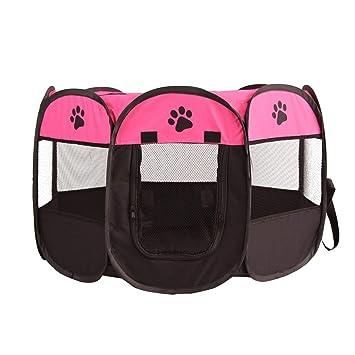 Carpa plegable rápida octogonal mascotas jaula plegable portátil perro parque infantil caseta de perro cachorro pluma suave de la perrera de Nueva jaula ...