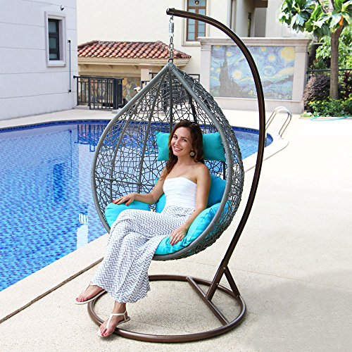 Island Gale Hanging Basket Chair Outdoor Front Porch Furniture with Stand and Cushion (Grey Wicker, Turquoise Cushion)