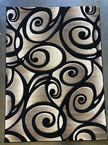 Modern Area Rug Door Mat Sculpture Design S 241 Black 2ftx3ft.4in.