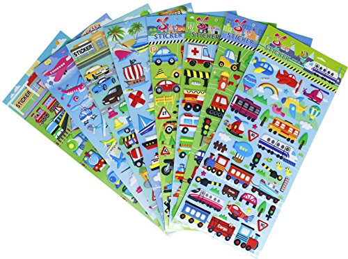 HighMount Transportation Stickers 8 Sheets with Car, Airplane, Steamship, Train, Motorcycle - PVC Transportation Stickers for Kids - 320 Stickers ()