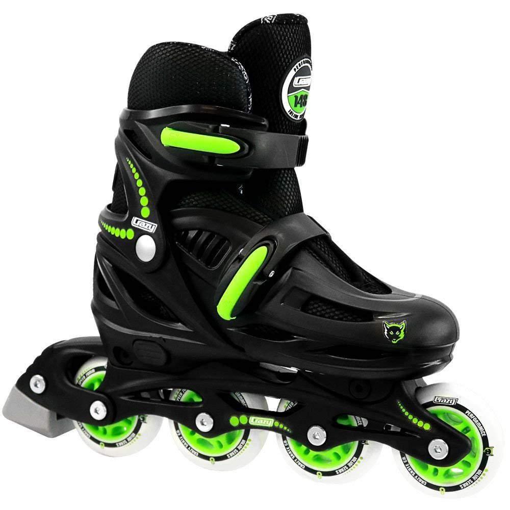 Crazy Skates Adjustable Inline Skates | Adjusts to fit 4 Shoe Sizes | Black Model 148 Large (M6-8/L7-9)