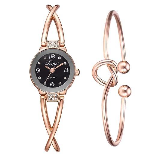 POJIETT Marcas Relojes Mujer de Moda Reloj Pulsera Analógico de Cuarzo para Mujer Reloj Oro Rosa Conjunto de Joyas de Plata Mujer Regalos: Amazon.es: ...