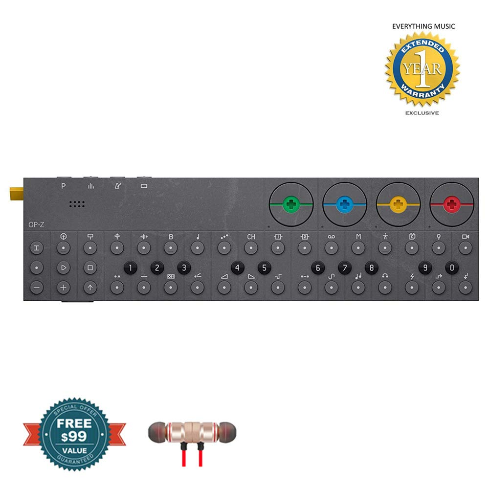 Teenage engineering TE012AS001 OP-Z Synthesizer and Multimedia Sequencer Includes Free Wireless Earbuds - Stereo Bluetooth In-ear and 1 Year Everything Music Extended Warranty