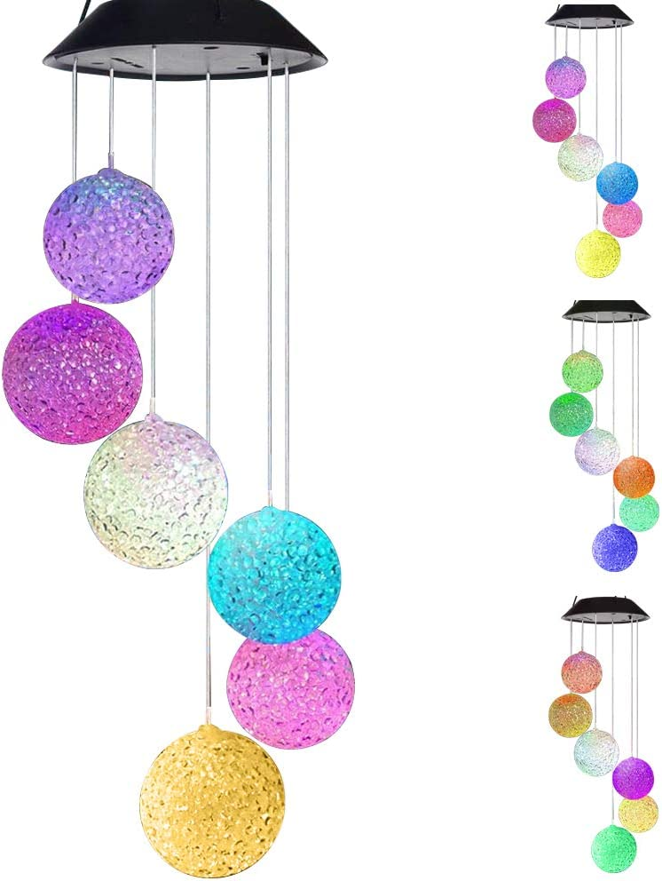 Vinkki Solar Wind Chime Color Changing Solar Mobile Light Crystal Ball LED Wind Chime Solar Powered Wind Mobile Waterproof Outdoor Decor Romantic Wind Bell Light for Patio Garden Home