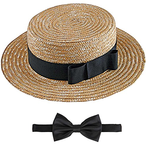 Straw Hat Bow Tie Set