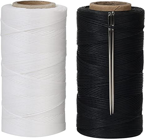 Tenn Well Waxed Thread Black 328 Yards 150D 1MM Leather Sewing Waxed Thread with Needles for Leather DIY Project