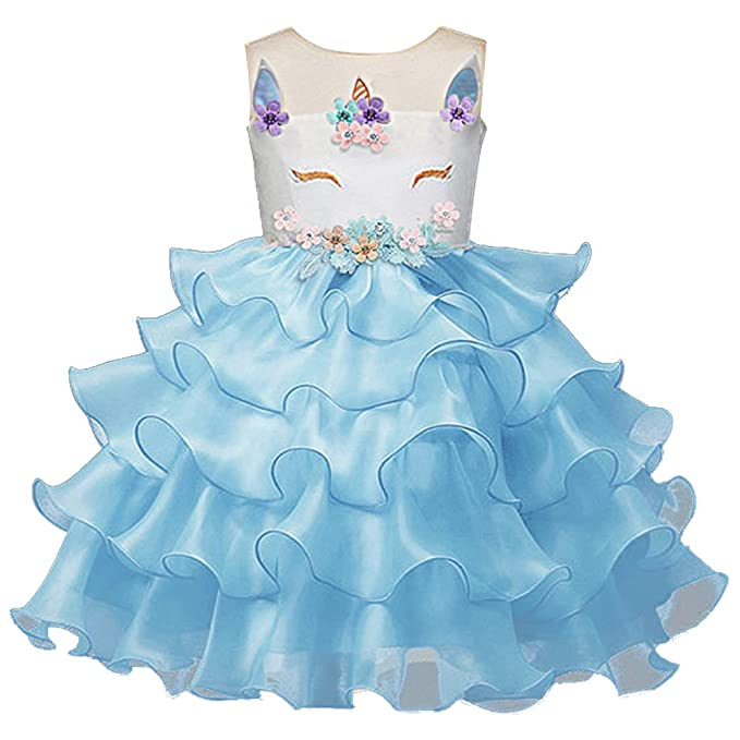 Princess Girls Unicorn Fancy Dress Halloween Costume Party Outfit Blue 2-3 Years