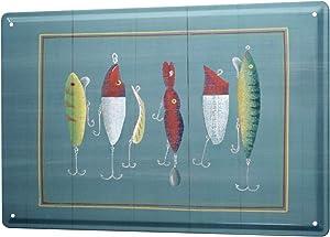 LEotiE SINCE 2004 Tin Sign Metal Plate Decorative Sign Home Decor Plaques 30 x 40 cm Pisces Angel Bait Fish Fisherman's House Vintage