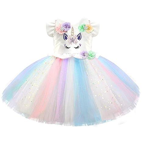Falda de tutú de unicornio para niñas, disfraz de princesa sin mangas, vestido de