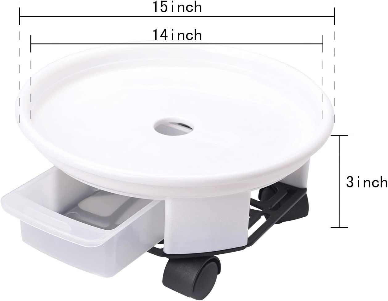Round Movable Planter Dolly Trolley Tray Pallet Outdoor Indoor Tree Flower Stand Planter Pot Mover with Easy Moving Caster Wheels and a Water Container Heeler 1 Pack 15 White Plant Caddy
