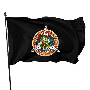 1st Battalion 9th Marines Walking Dead Dragon 3x5 Ft Indoor Outdoor Decor Flag Vivid Color Outdoor Banner Uv Fade Resistant Garden Flag For Dorm Room Parties Parade(Not Include Pole)