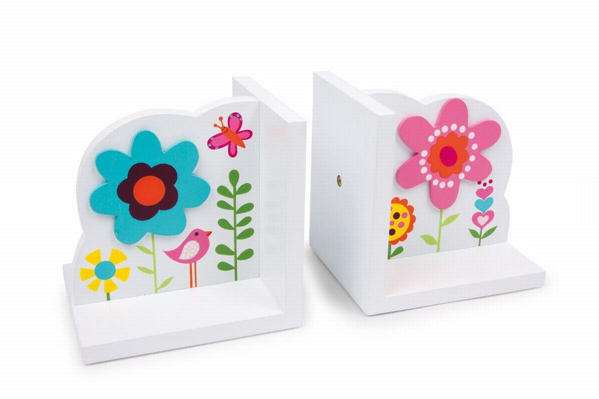 """Small Foot by Legler Buchstützen """"Blume"""" aus weiß lackiertem Holz, mit bunten Blumen-Motiven und Applikationen, ein fröhlicher Blickfang im Kinderzimmer Handelshaus LEGLER OHG 2020557"""