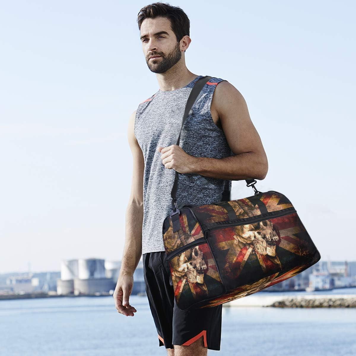 MALPLENA UK Flag Travel Duffel Bag Weekender Bag with Shoes Compartment for Men Women
