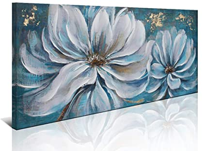 White Flower Painting Wall Art Canvas Print Picture For Living Room Large White Flower Gray Blue Themed Canvas Art Home Bedroom Decoration Modern