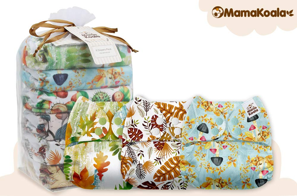 Mama Koala One Size Baby Washable Reusable Pocket Cloth Diapers 6 Pack with 6 One Size Microfiber Inserts Natures Pulse