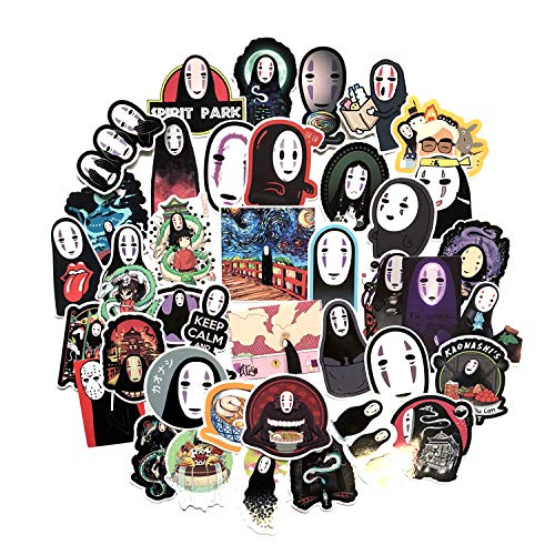 A Sticker Shop [40 pc No Face Man Anime Cartoon Laptop Stickers Waterproof Skateboard Pad MacBook Car Snowboard Bicycle Luggage Decor
