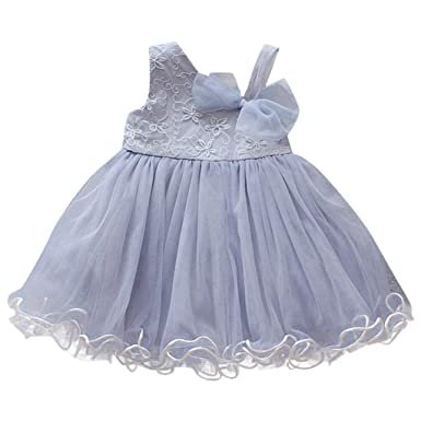 fc3d06496 Toddler Baby Girls Sleeveless Floral Bow Skirt Pleated Dress Party Wedding  Mesh Tulle Princess Tutu Dresses: Clothing