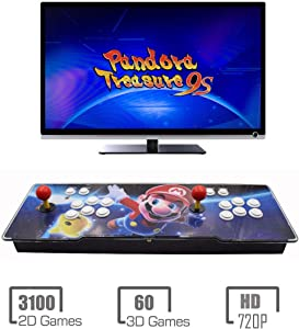 HAAMIIQII Pandora Treasure 9s Arcade Game Console - 3160 Games Pre-Loaded, Support 3D Games, Search/Save/Hide/Pause Games, 1280x720P, 4 Players Online Game, 2 Player Game Controls