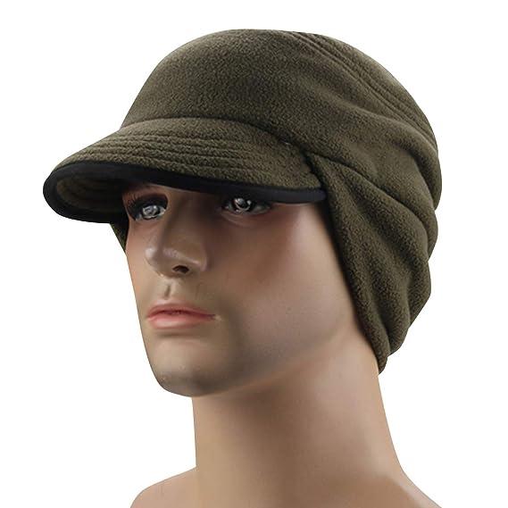 Men s Windproof Earflap Skull Cap Fleece Winter Cycling Warm Hats with  Visor Army Green 6064ac2eb9ca