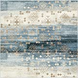 Unique Loom Chimera Collection Vintage Modern Abstract Dark Blue Square Rug (6' x 6')