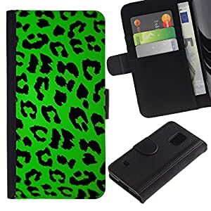 All Phone Most Case / Oferta Especial Cáscara Funda de cuero Monedero Cubierta de proteccion Caso / Wallet Case for Samsung Galaxy S5 V SM-G900 // Leopard Pattern Green Black Design Style