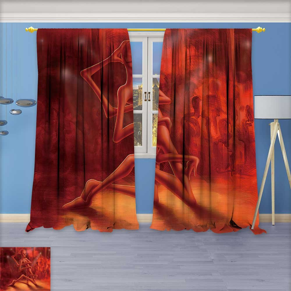 Window Treatments picture painted by me named dance of the medusa shows a alien like figure Living Room Bedroom Curtain 2 Panels Set 72W x 108L Inch