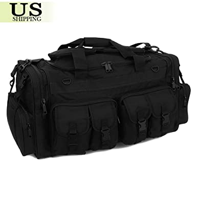 """f3dc6fcd1897 Image Unavailable. Image not available for. Color  30"""" Black Large Men  Duffle Bag Military Molle Tactical Cargo Gear Shoulder Bag Luggage"""