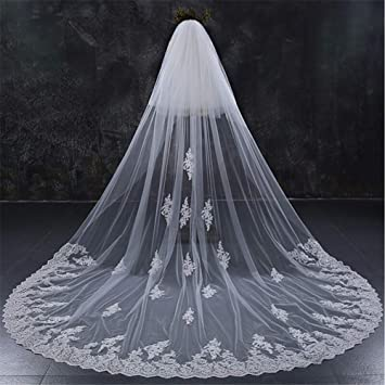 Wedding Veils 1 Tier Lace Edge Cathedral Bridal veil 9Meter with Comb Accessorie