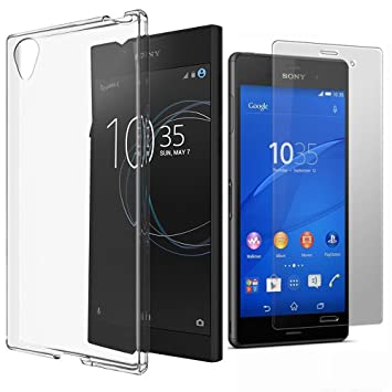 best website ff24c 56830 Xperia L1 Case with HD Tempered Glass Screen Protector, Crystal Clear  Transparent Gel Cover Ultra Thin Slim Soft TPU Silicone Protective Case +  ...