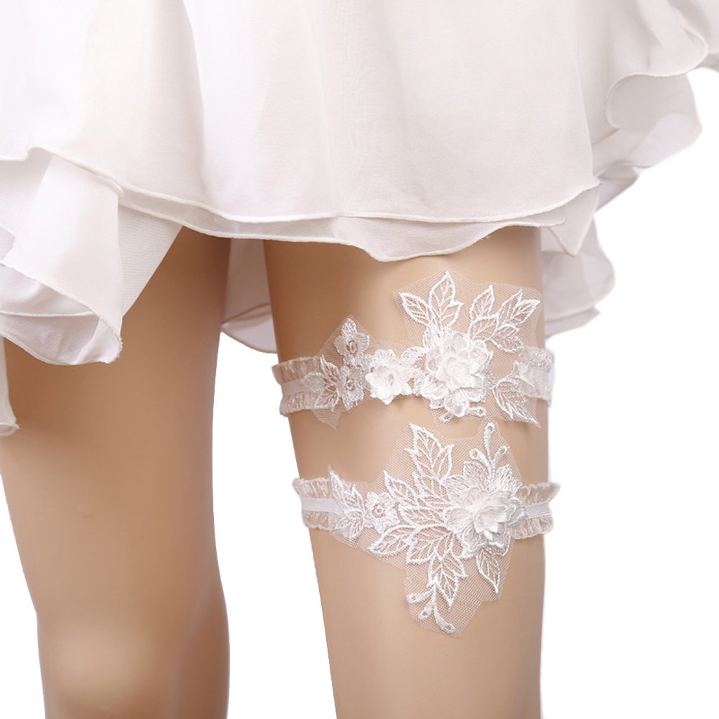 Telamee 2018 Handmade Rhinstones Lace Wedding Garters Bride Garter Set 2 Pcs THB01-A
