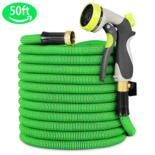 Garden Hose, Lightweight Expandable Water Hose, Expanding Hose with Solid Brass Connector, Double Latex Inner Tube, for Car Washing, Garden Watering (50FT, Green) (Green Tub Tube)