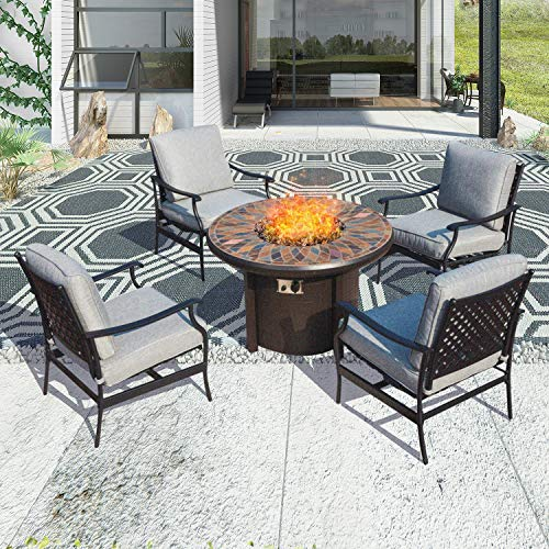 "Patio Festival ® Outdoor Patio Conversation Sets CSA Certification 50,000 BTU Gas Fire Pit Set Round Firepit Table Metal Sofa Chair with 5.1"" Thick Seat Cushion (5 PCS,Grey)"