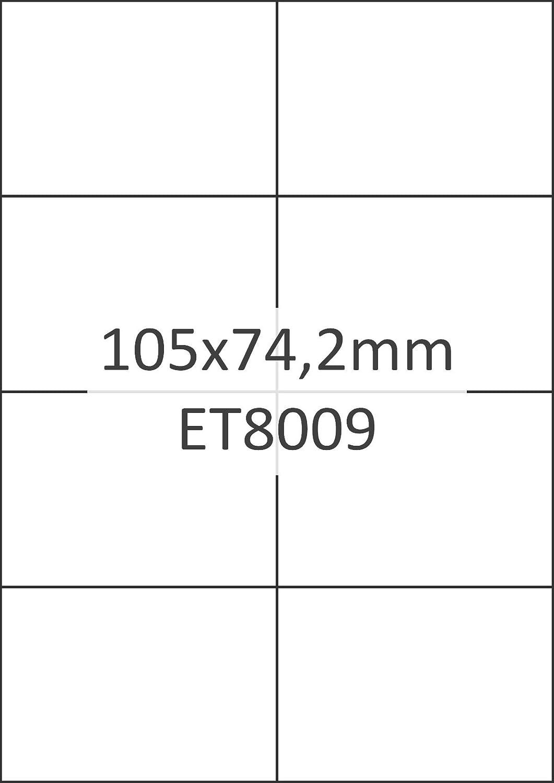100/etiquetas blancas /Etiquetas universales 105/x 74/mm, 800/etiquetas, papel mate, A4 Bits /& Paper et8009l/