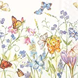 Ideal Home Range L727590 20 Count Butterflies and Blossoms 3-Ply Paper Luncheon Napkins, Multicolor