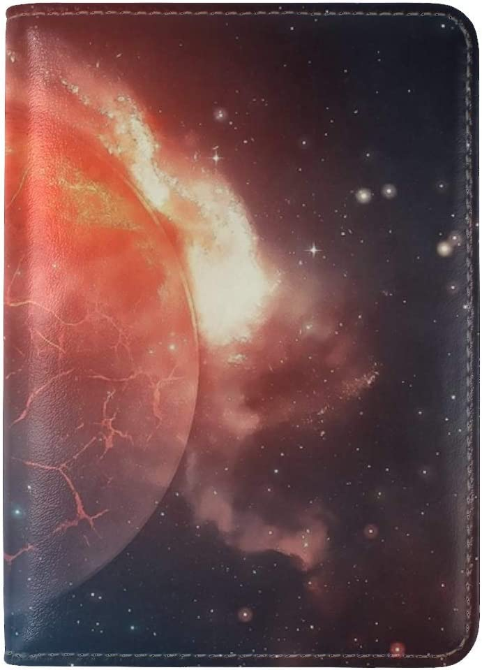 JiaoL Planet Explosion Cracks Stars Universe Leather Passport Holder Cover Case Travel One Pocket