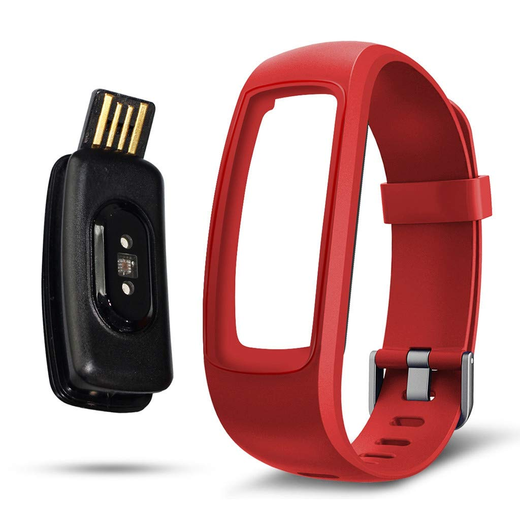 Larmly Blood Pressure Heart Rate Monitor Bluetooth Fitness Watch Smart Wristband Pedometer Call reminder Alarm Clock(Red) by Larmly
