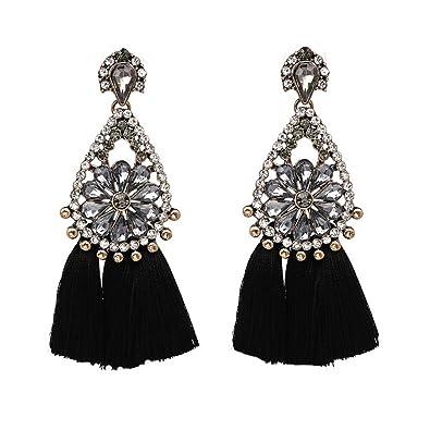 De Saint D'oreilles Leisial Pour Bijoux Strass Valentin Fête noir Pompon Boucles Mariage Et La Accessoires Cadeau Tc3uFKlJ1