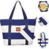 AISPARKY Baby Diaper Bag Tote,Stylish Canvas Baby Bag for Mom and Dad with Purse and Insulated Pockets Blue