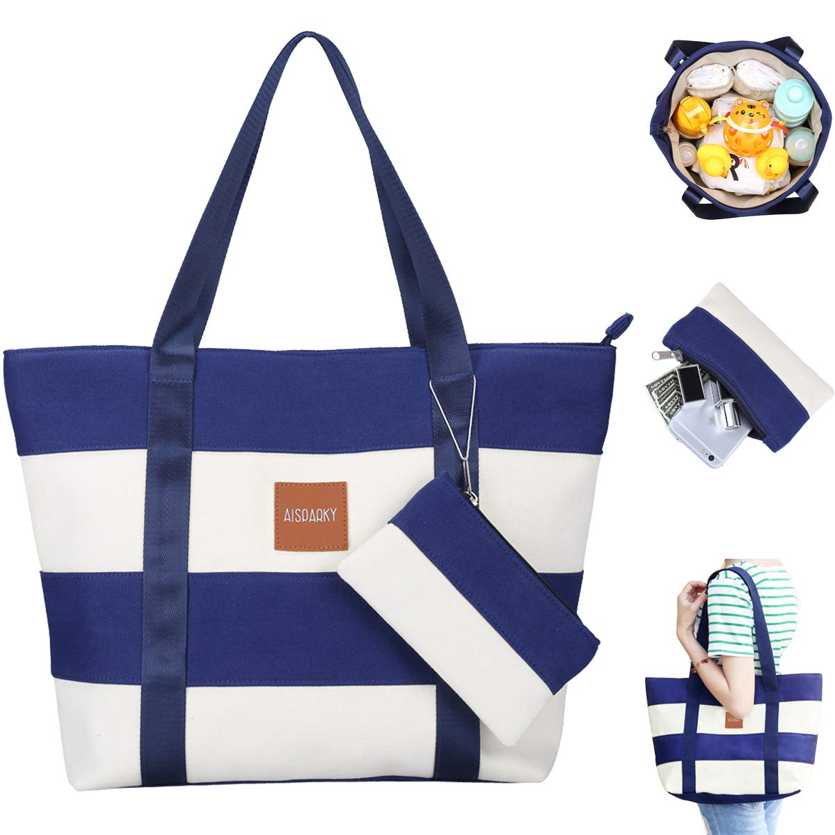 AISPARKY Baby Diaper Bag Tote, Stylish Canvas Baby Bag for Mom and Dad with Purse and Insulated Pockets Blue Beijing Screendata Co .LTD JPCDB01