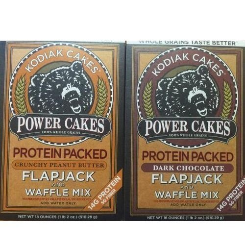 Kodiak Cakes Power Cakes: Chocolate and Crunchy Peanut Butter Combo Pack, 18 oz. each (Peanut Chocolate Cake Butter)