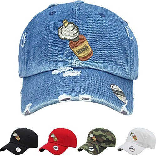 Mickey Hands Henny Vintage Dad Hat Embroidered (Medium Denim) (Hard Womens Cap)