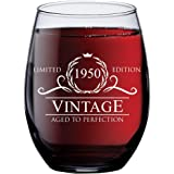 1950 70th Birthday Gifts for Women Men - 15 oz Stemless Wine Glass - 70 Year Old Present Ideas for Mom Dad - Funny…