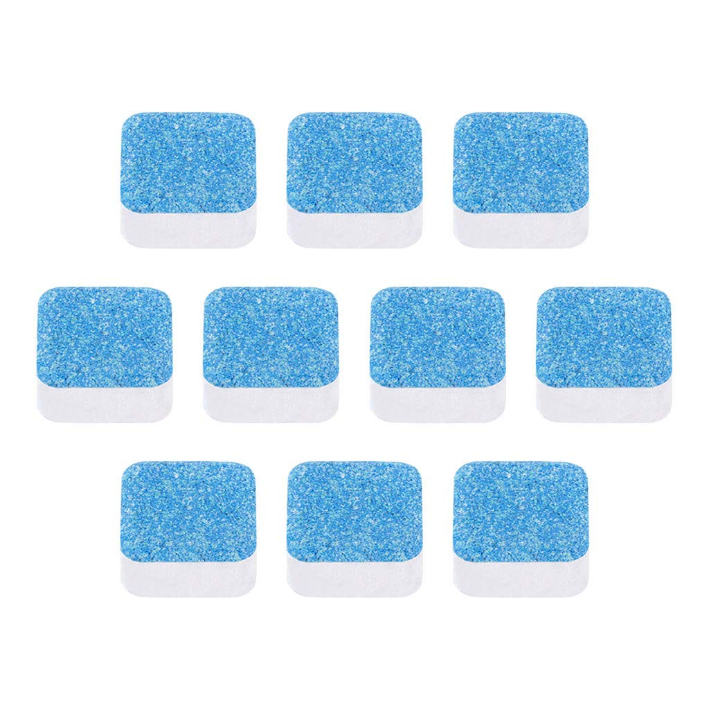 Hemgk 10pcs Washing Machine Cleaning Tablets, Front Loading Washers Descaling Tablets Effervescent Tabs, Cleaning Agents All Purpose, for Car Interior, Coffee Machine, Steam Oven, Stainless Steel
